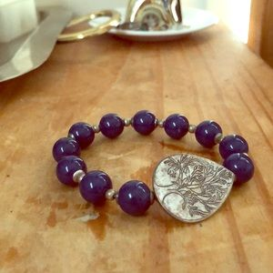 Blue and silver tree stretch bracelet